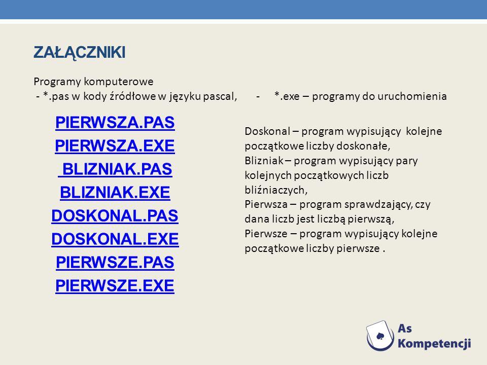 załączniki Programy komputerowe. - *.pas w kody źródłowe w języku pascal, - *.exe – programy do uruchomienia.