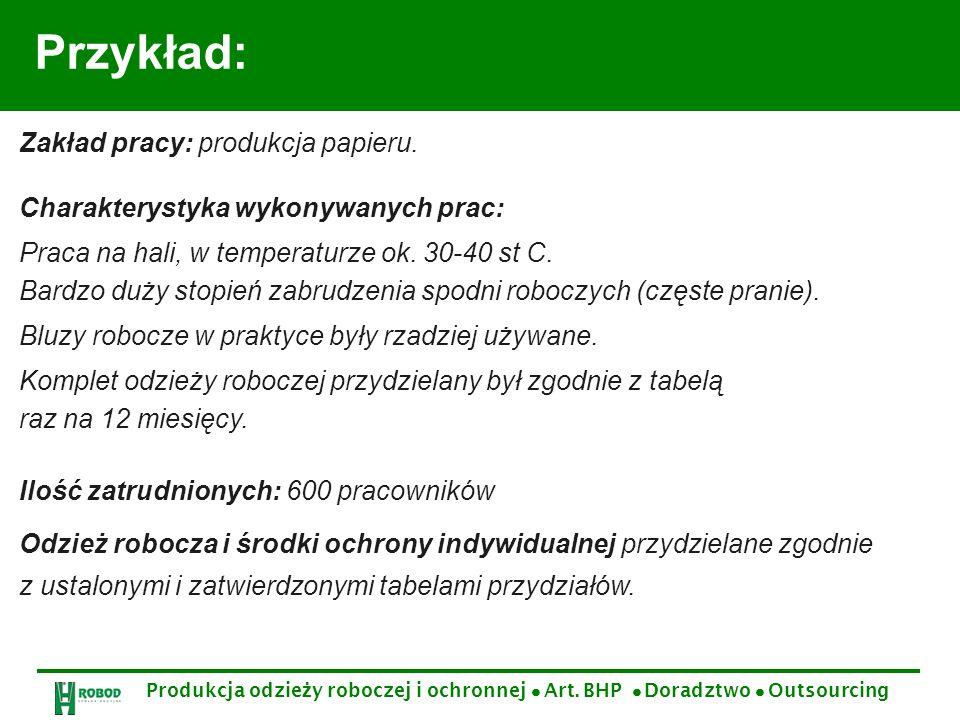 Przykład: Zakład pracy: produkcja papieru.