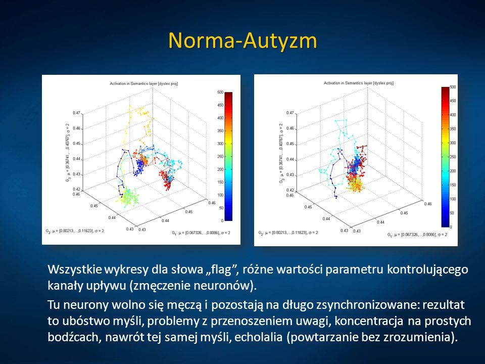 """Norma-Autyzm Wszystkie wykresy dla słowa """"flag , różne wartości parametru kontrolującego kanały upływu (zmęczenie neuronów)."""