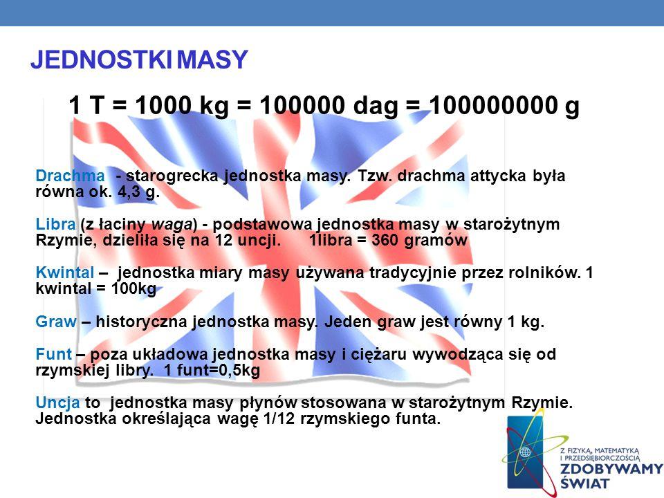 Jednostki masy 1 T = 1000 kg = 100000 dag = 100000000 g