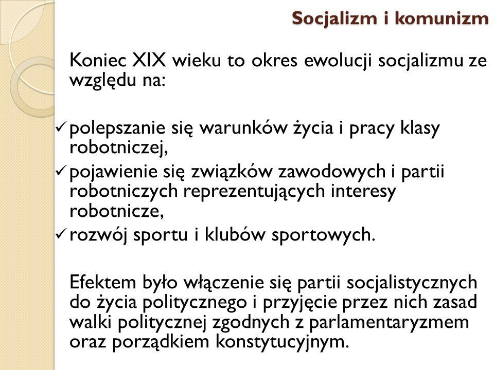 Koniec XIX wieku to okres ewolucji socjalizmu ze względu na: