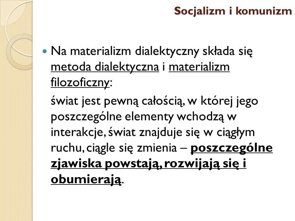 Socjalizm i komunizm Na materializm dialektyczny składa się metoda dialektyczna i materializm filozoficzny: