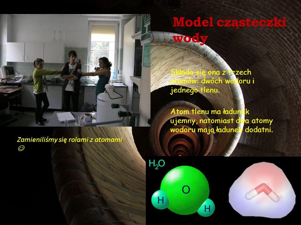 Model cząsteczki wody Składa się ona z trzech atomów: dwóch wodoru i jednego tlenu.