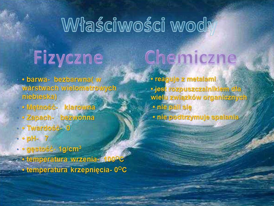 Właściwości wody Fizyczne Chemiczne