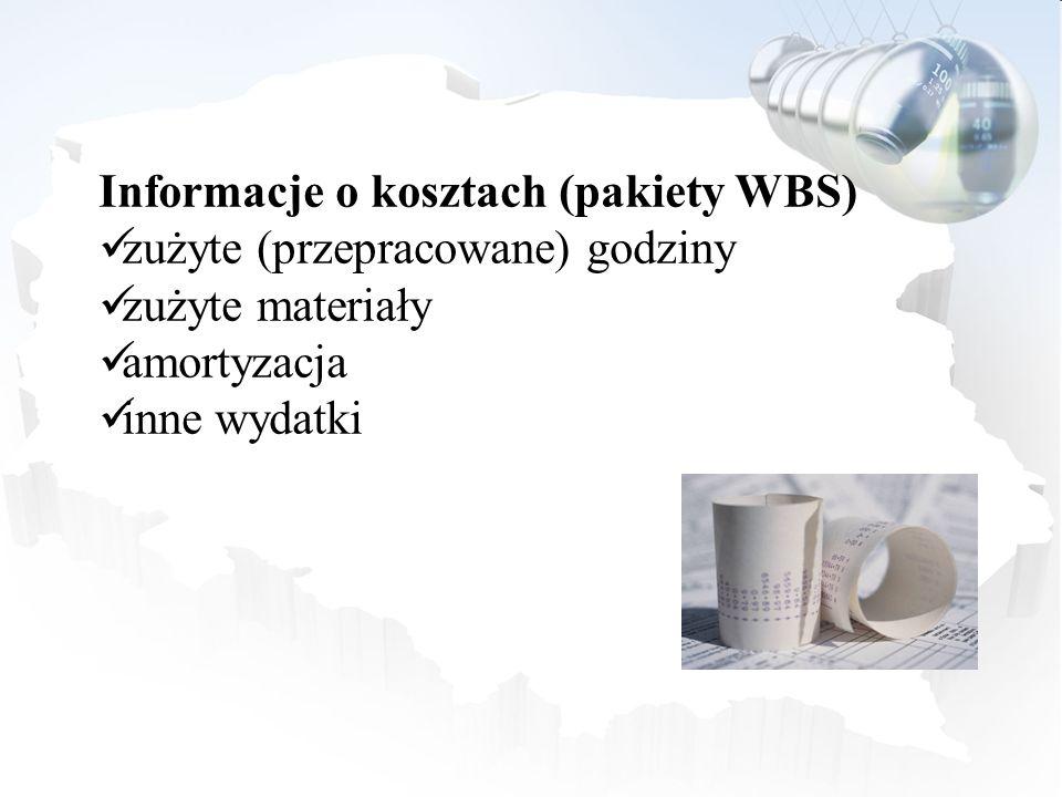 Informacje o kosztach (pakiety WBS)