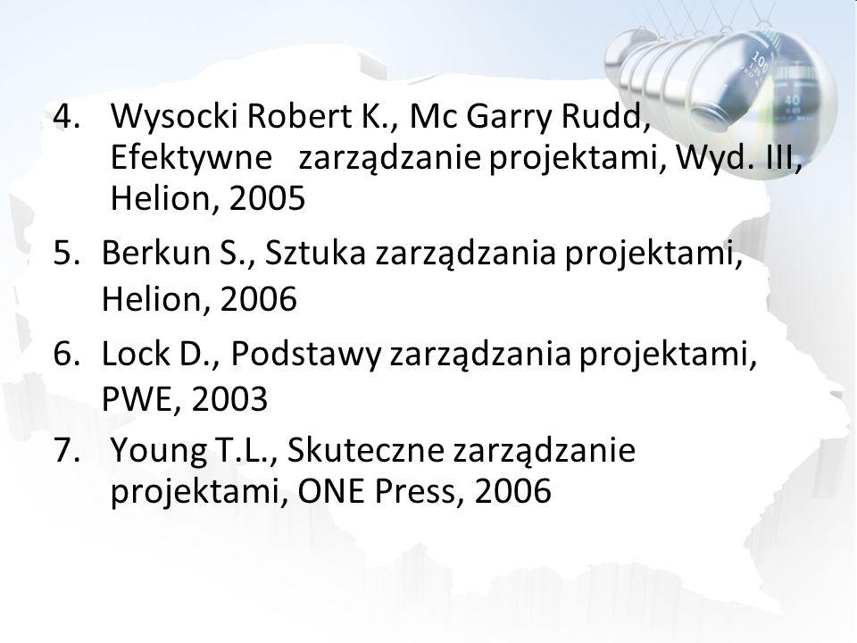 Wysocki Robert K., Mc Garry Rudd, Efektywne zarządzanie projektami, Wyd. III, Helion, 2005