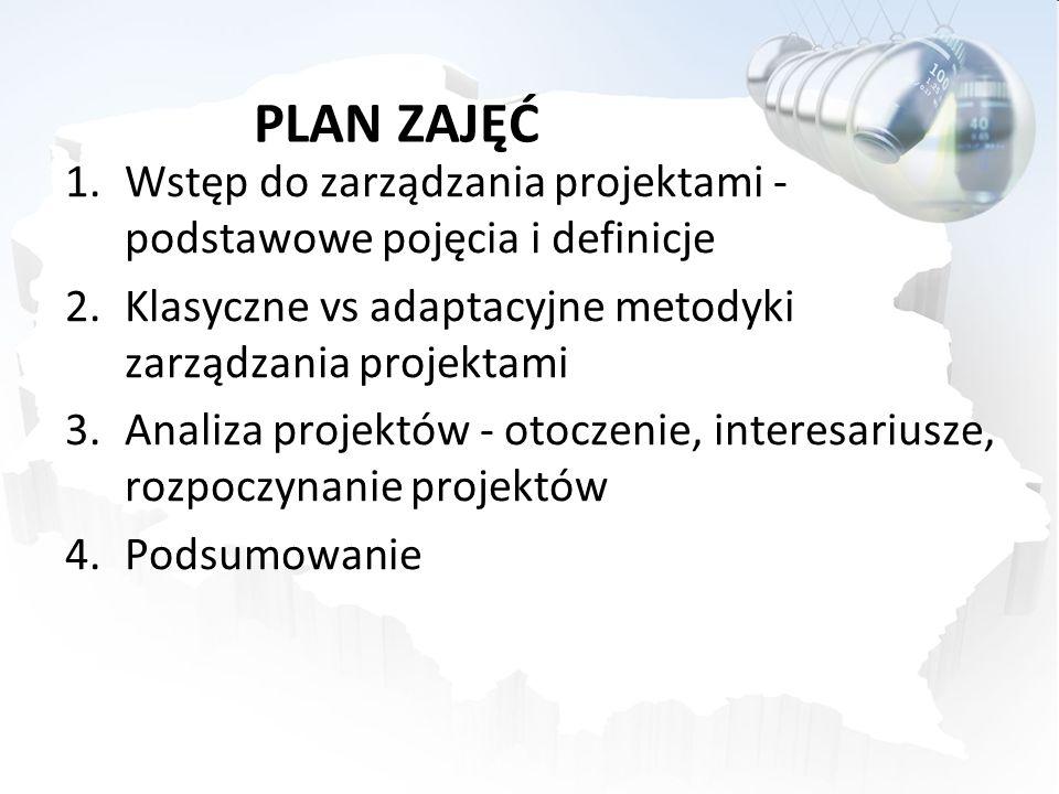 PLAN ZAJĘĆ Wstęp do zarządzania projektami - podstawowe pojęcia i definicje. Klasyczne vs adaptacyjne metodyki zarządzania projektami.