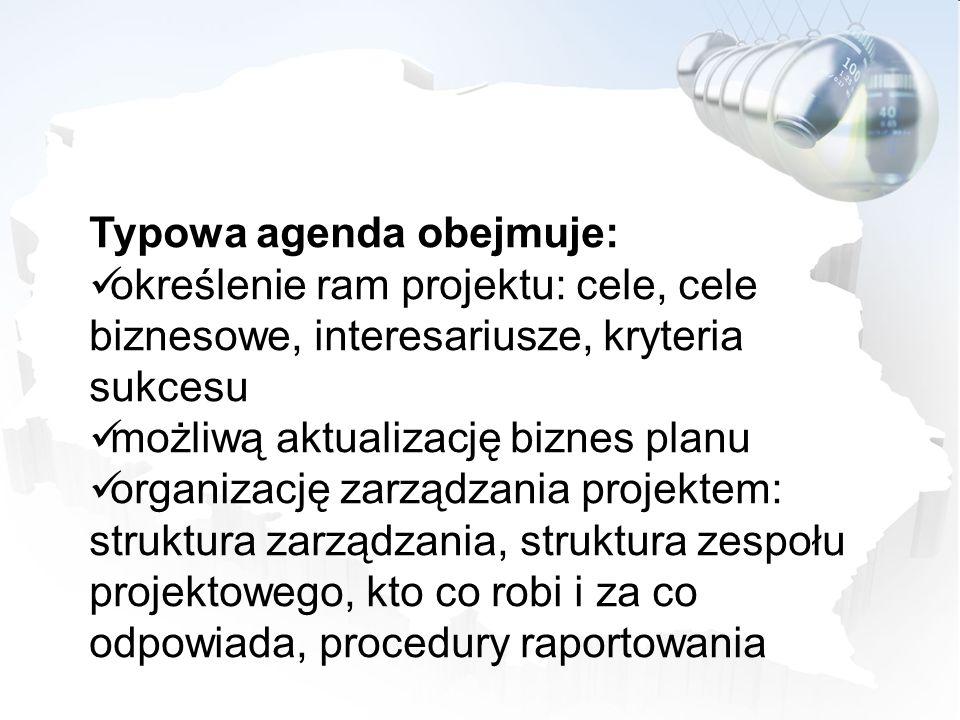Typowa agenda obejmuje:
