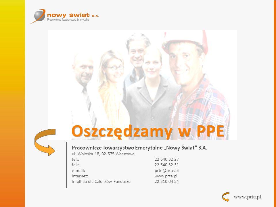 """Oszczędzamy w PPE Pracownicze Towarzystwo Emerytalne """"Nowy Świat S.A."""