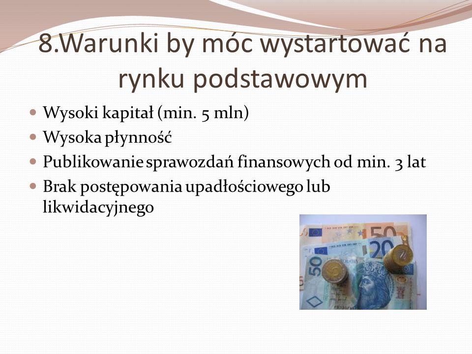 8.Warunki by móc wystartować na rynku podstawowym
