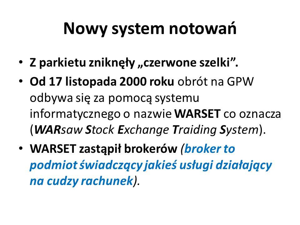 """Nowy system notowań Z parkietu zniknęły """"czerwone szelki ."""