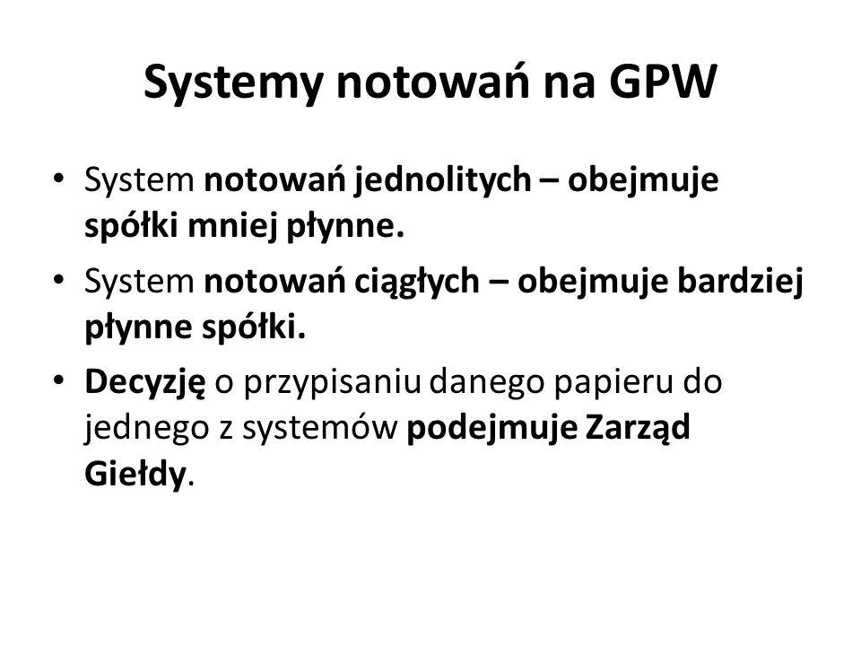 Systemy notowań na GPW System notowań jednolitych – obejmuje spółki mniej płynne. System notowań ciągłych – obejmuje bardziej płynne spółki.