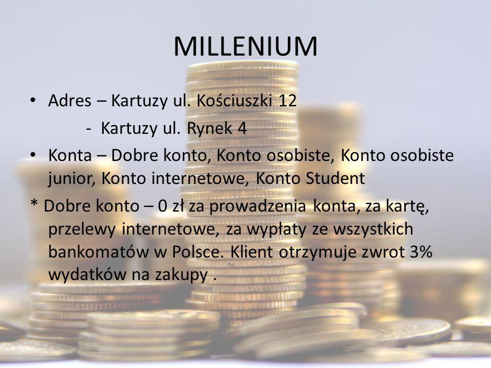 MILLENIUM Adres – Kartuzy ul. Kościuszki 12 - Kartuzy ul. Rynek 4