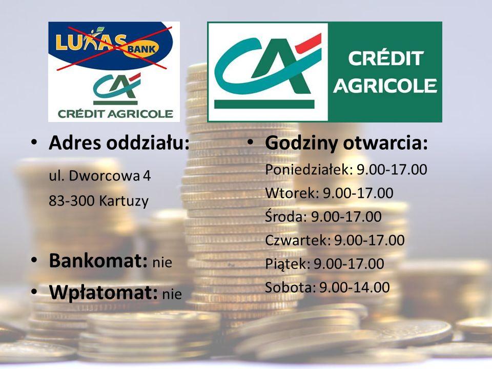 Adres oddziału: Godziny otwarcia: ul. Dworcowa 4 Bankomat: nie