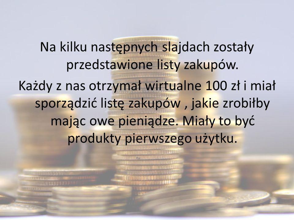 Na kilku następnych slajdach zostały przedstawione listy zakupów