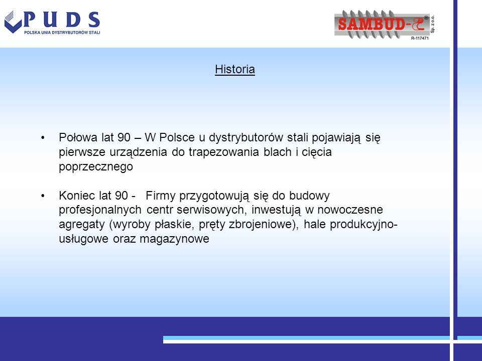Historia Połowa lat 90 – W Polsce u dystrybutorów stali pojawiają się pierwsze urządzenia do trapezowania blach i cięcia poprzecznego.