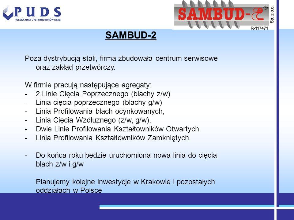 SAMBUD-2Poza dystrybucją stali, firma zbudowała centrum serwisowe oraz zakład przetwórczy. W firmie pracują następujące agregaty: