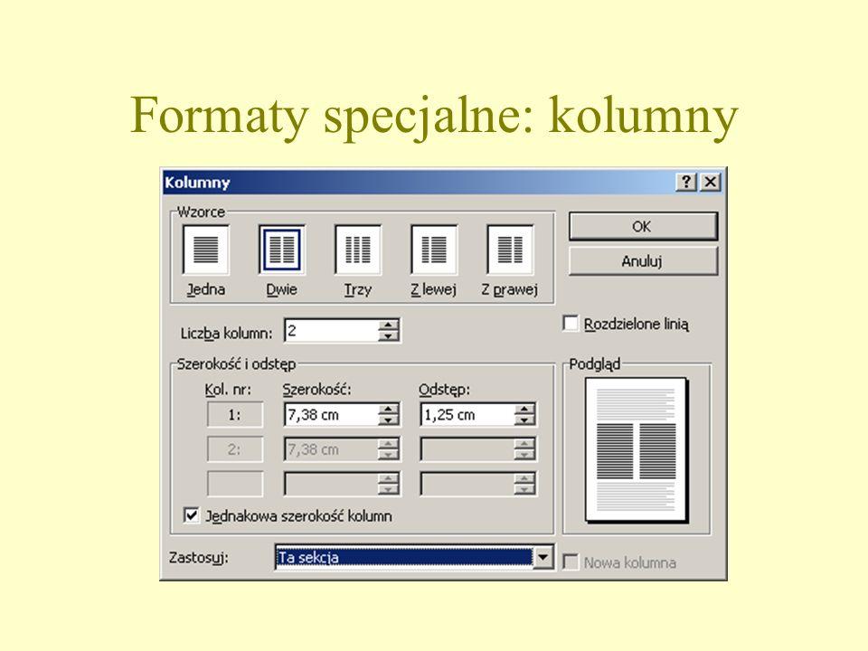 Formaty specjalne: kolumny