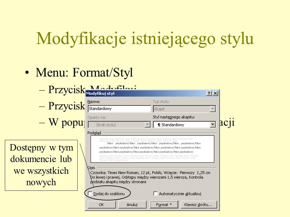 Modyfikacje istniejącego stylu