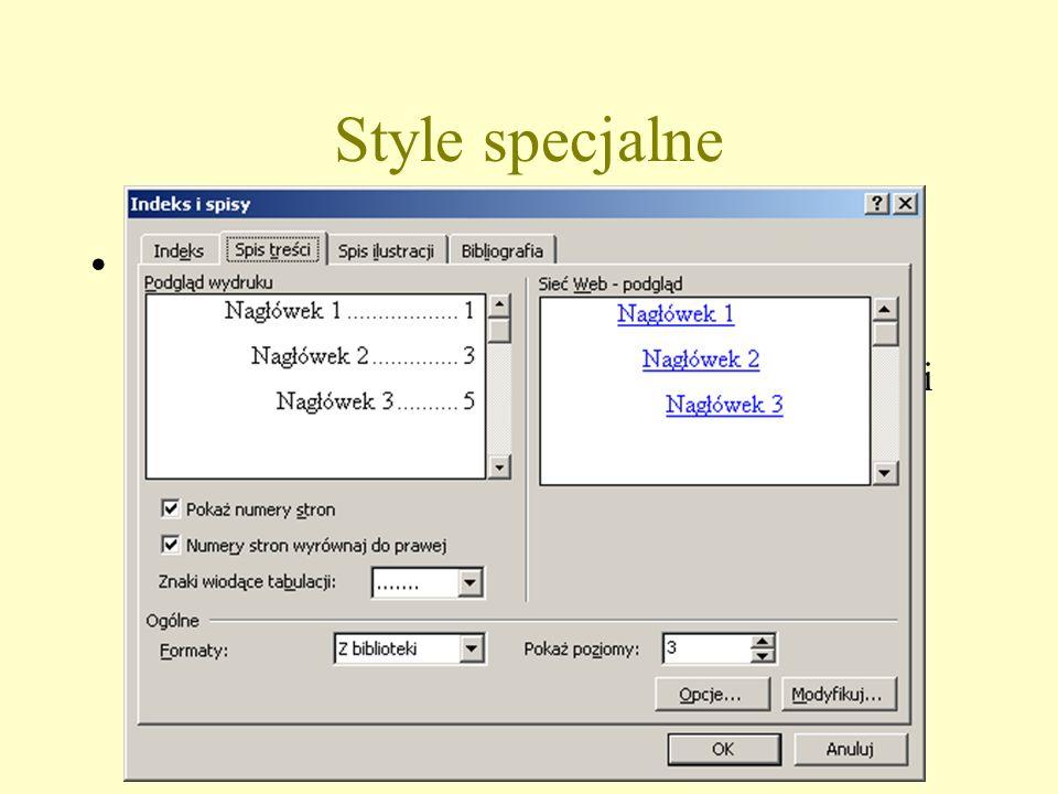 Style specjalne Spis treści