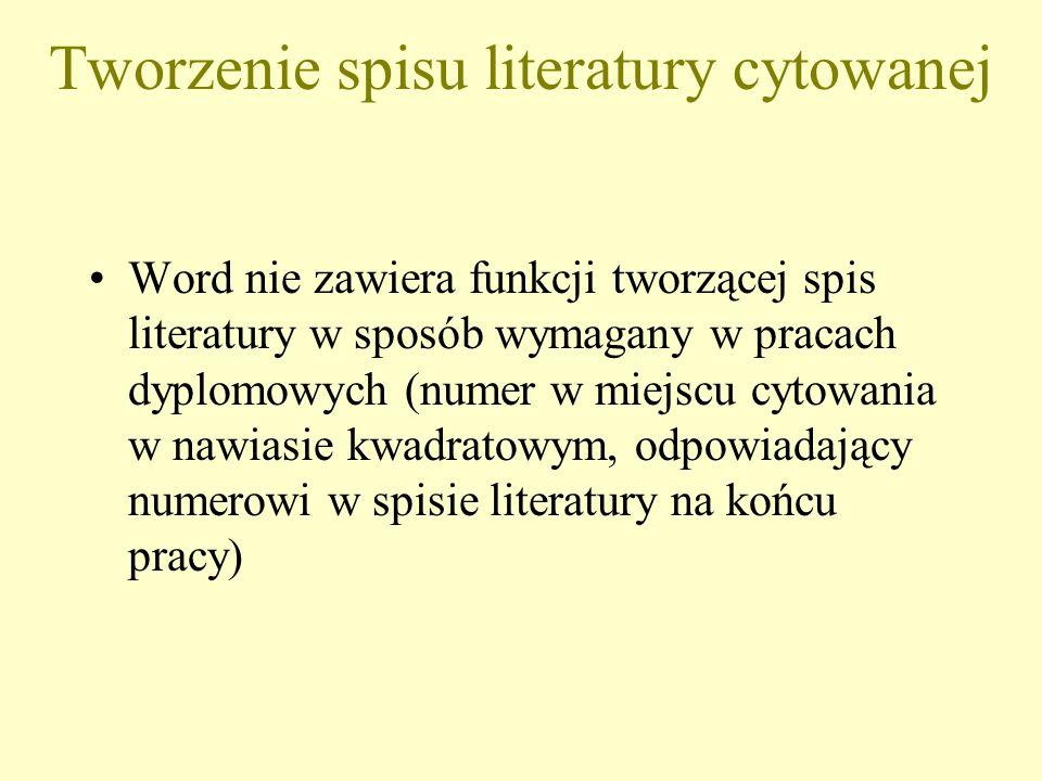Tworzenie spisu literatury cytowanej