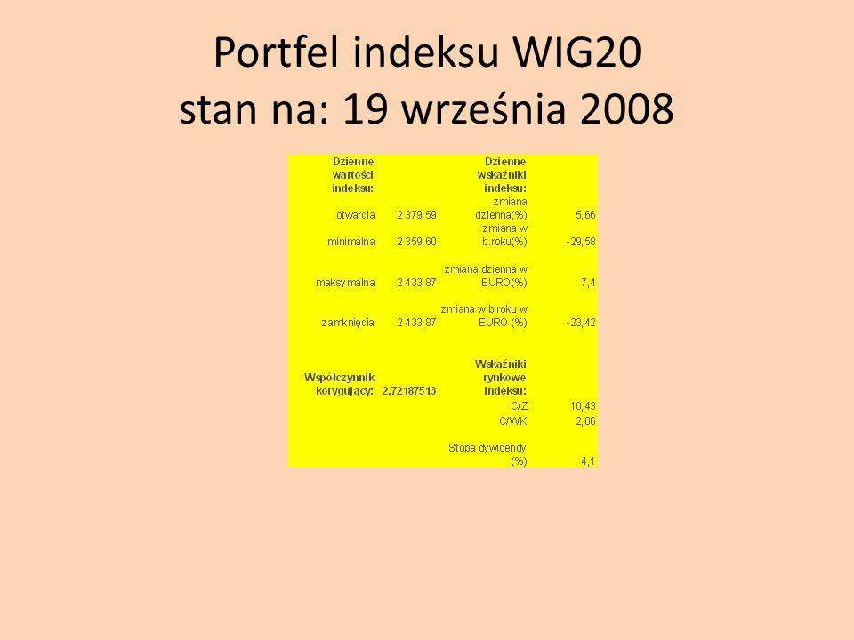 Portfel indeksu WIG20 stan na: 19 września 2008