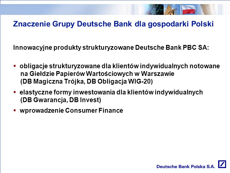 Znaczenie Grupy Deutsche Bank dla gospodarki Polski