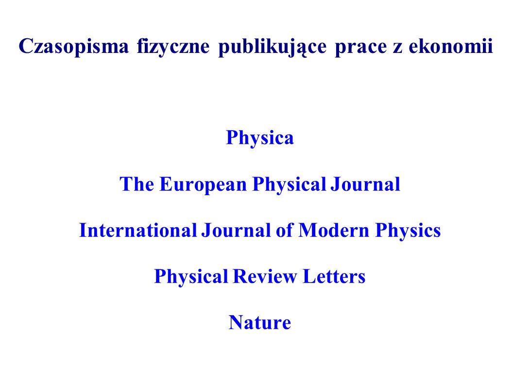 Czasopisma fizyczne publikujące prace z ekonomii