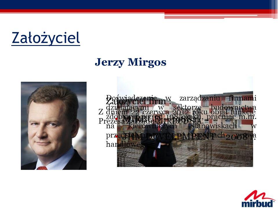 Założyciel Jerzy Mirgos Założyciel firm : MIRBUD – 1988 r.