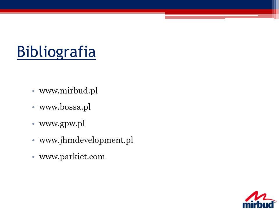 Bibliografia www.mirbud.pl www.bossa.pl www.gpw.pl