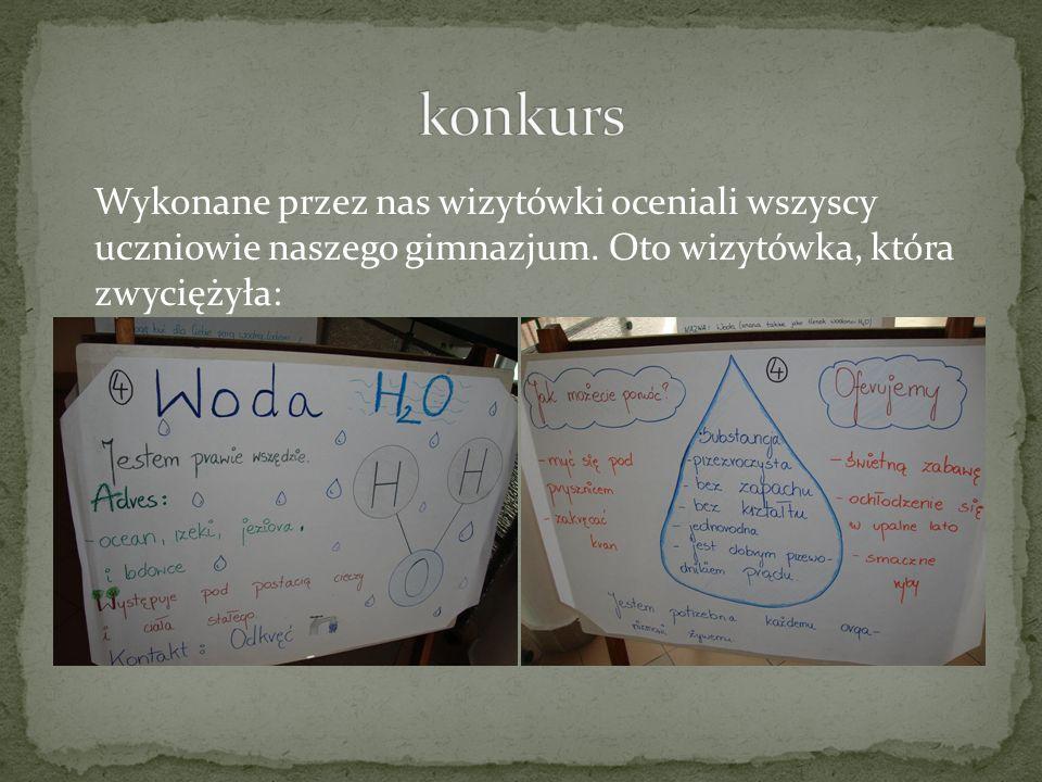 konkurs Wykonane przez nas wizytówki oceniali wszyscy uczniowie naszego gimnazjum.