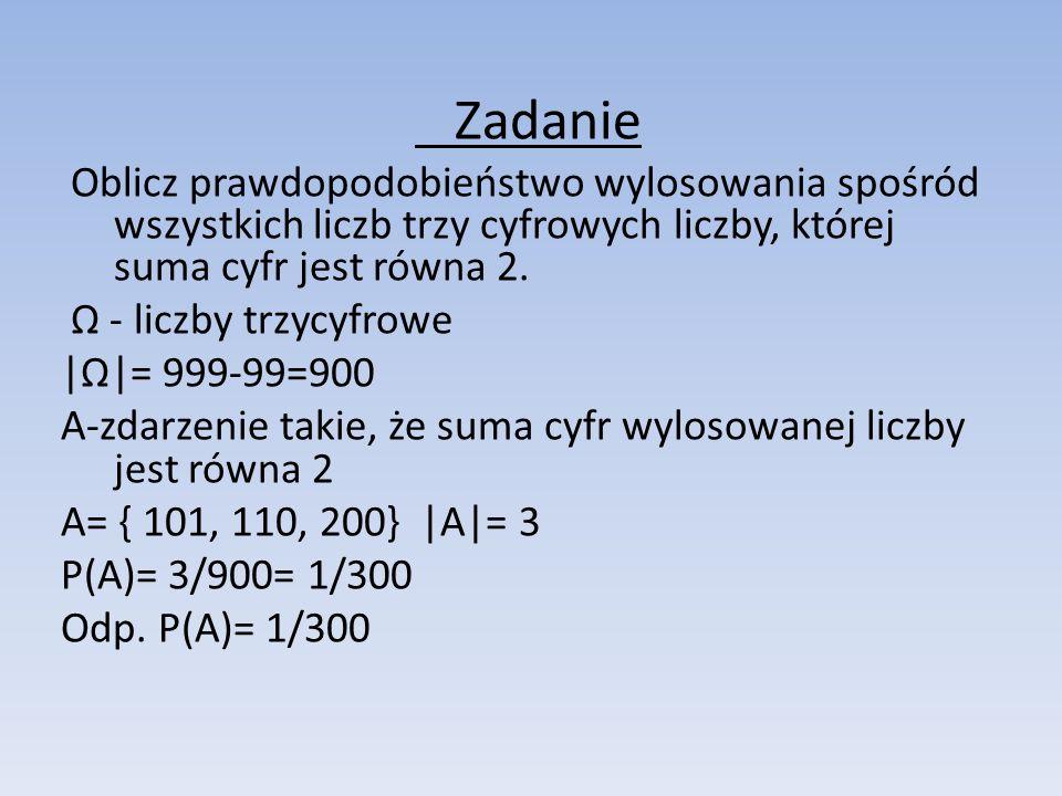 Zadanie Oblicz prawdopodobieństwo wylosowania spośród wszystkich liczb trzy cyfrowych liczby, której suma cyfr jest równa 2.