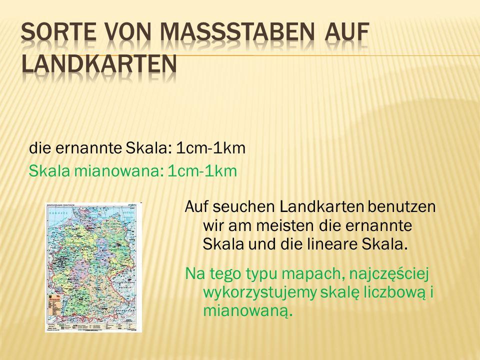 Sorte von Massstaben auf Landkarten