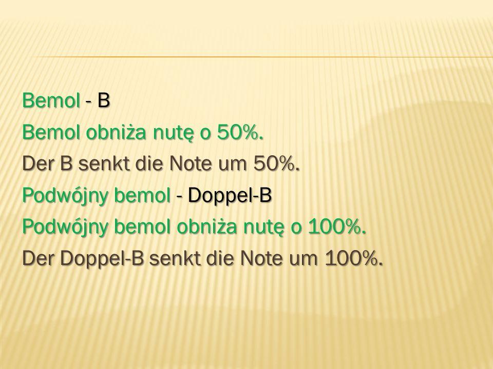 Bemol - B Bemol obniża nutę o 50%. Der B senkt die Note um 50%