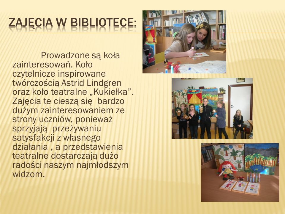 Zajęcia w bibliotece: