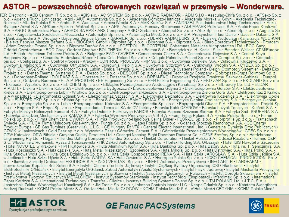 ASTOR – powszechność oferowanych rozwiązań w przemysle – Wonderware.