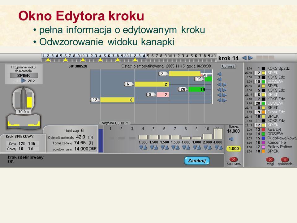 Okno Edytora kroku pełna informacja o edytowanym kroku