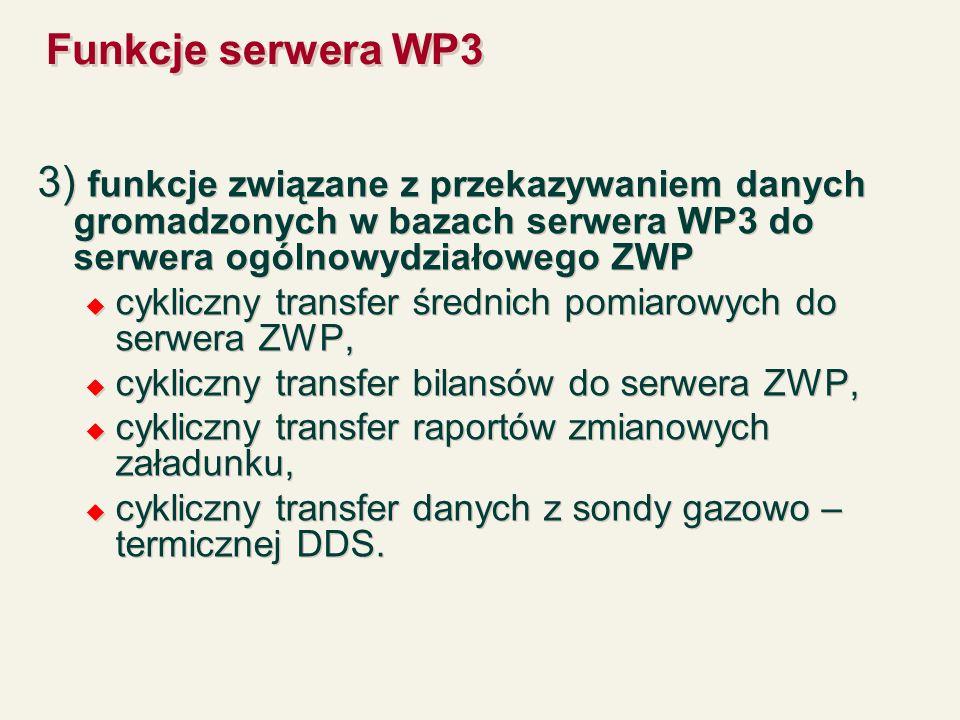 Funkcje serwera WP3 3) funkcje związane z przekazywaniem danych gromadzonych w bazach serwera WP3 do serwera ogólnowydziałowego ZWP.