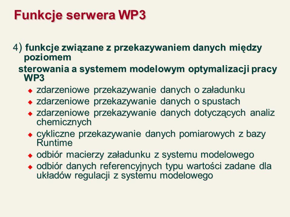 Funkcje serwera WP3 4) funkcje związane z przekazywaniem danych między poziomem. sterowania a systemem modelowym optymalizacji pracy WP3.
