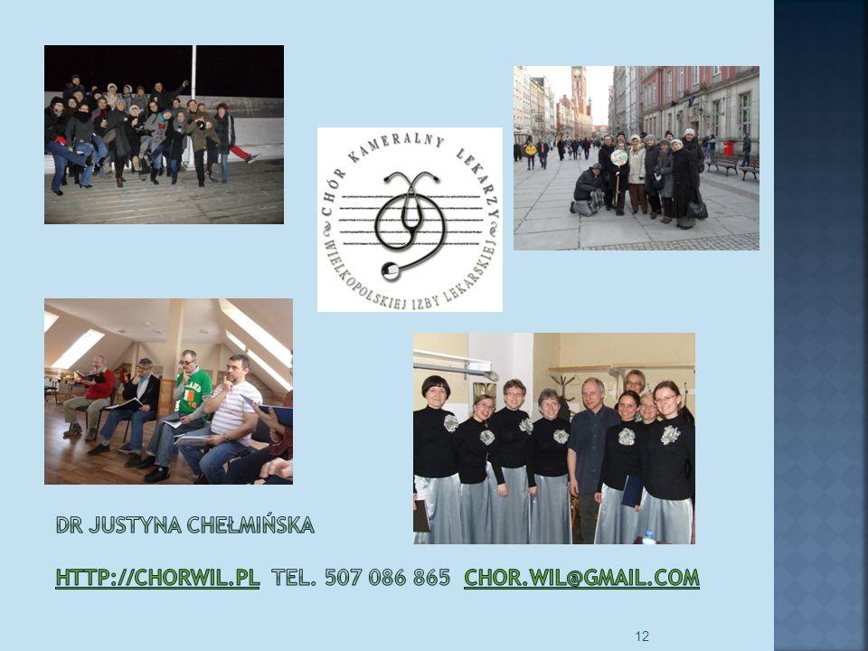 Kariera lekarza Lek. Marcin Żytkiewicz. dr JUSTYNA CHEŁMIŃSKA http://chorwil.pl Tel. 507 086 865 chor.wil@gmail.com.