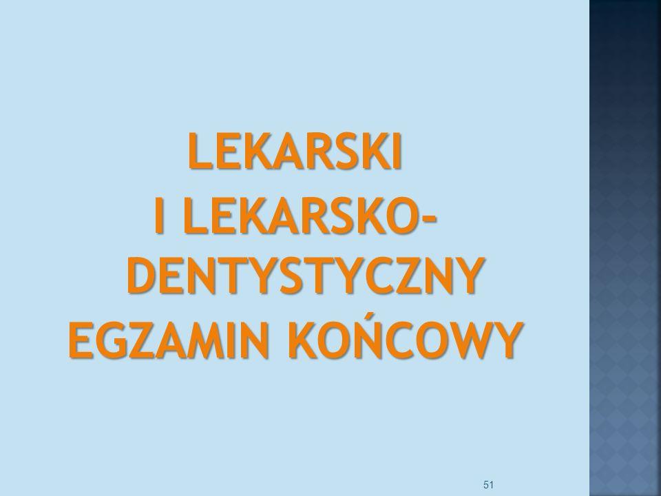 LEKARSKI I LEKARSKO- DENTYSTYCZNY EGZAMIN KOŃCOWY