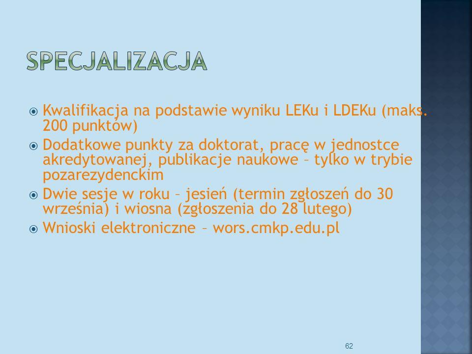 Kariera lekarza Lek. Marcin Żytkiewicz. Specjalizacja. Kwalifikacja na podstawie wyniku LEKu i LDEKu (maks. 200 punktów)