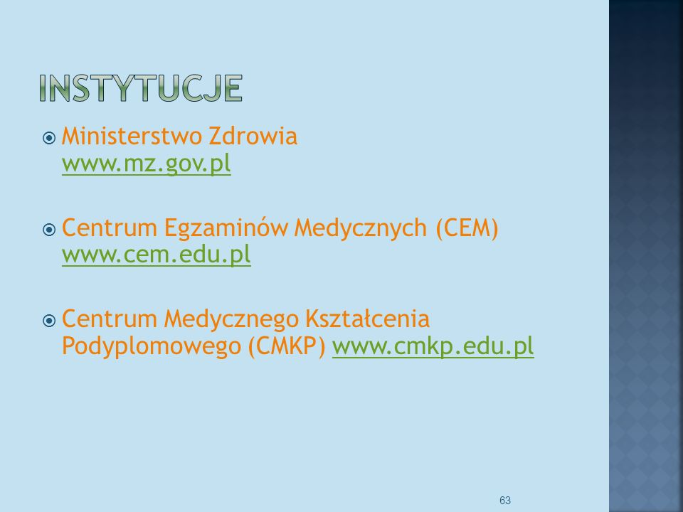 Instytucje Ministerstwo Zdrowia www.mz.gov.pl