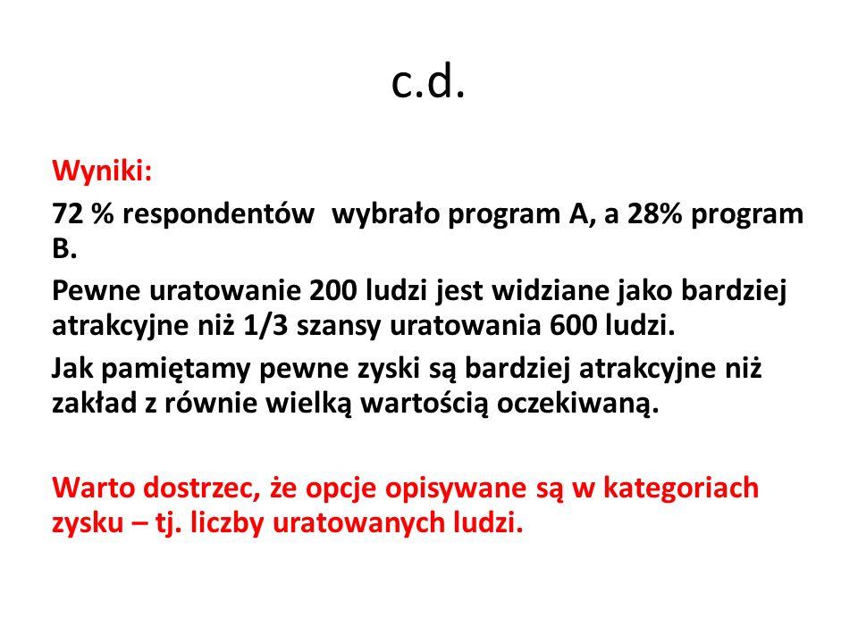 c.d. Wyniki: 72 % respondentów wybrało program A, a 28% program B.