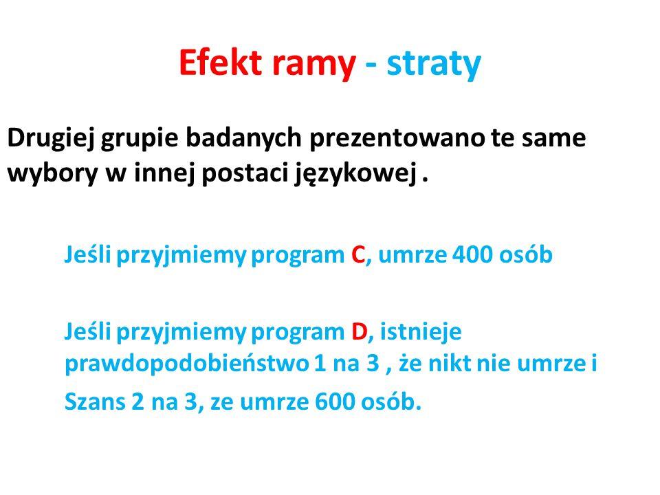 Efekt ramy - straty Drugiej grupie badanych prezentowano te same wybory w innej postaci językowej .