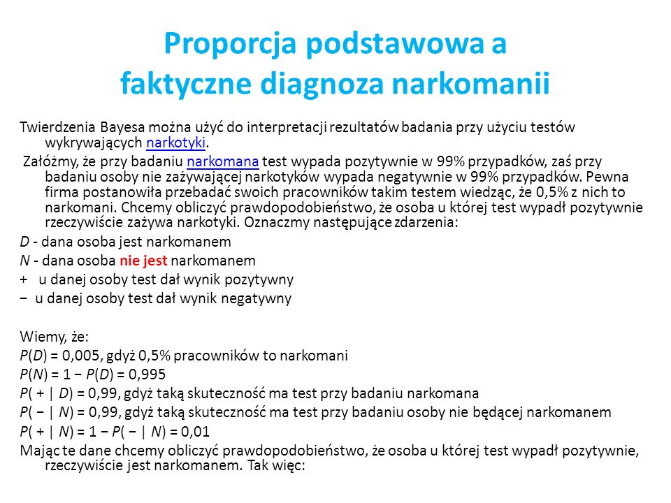 Proporcja podstawowa a faktyczne diagnoza narkomanii
