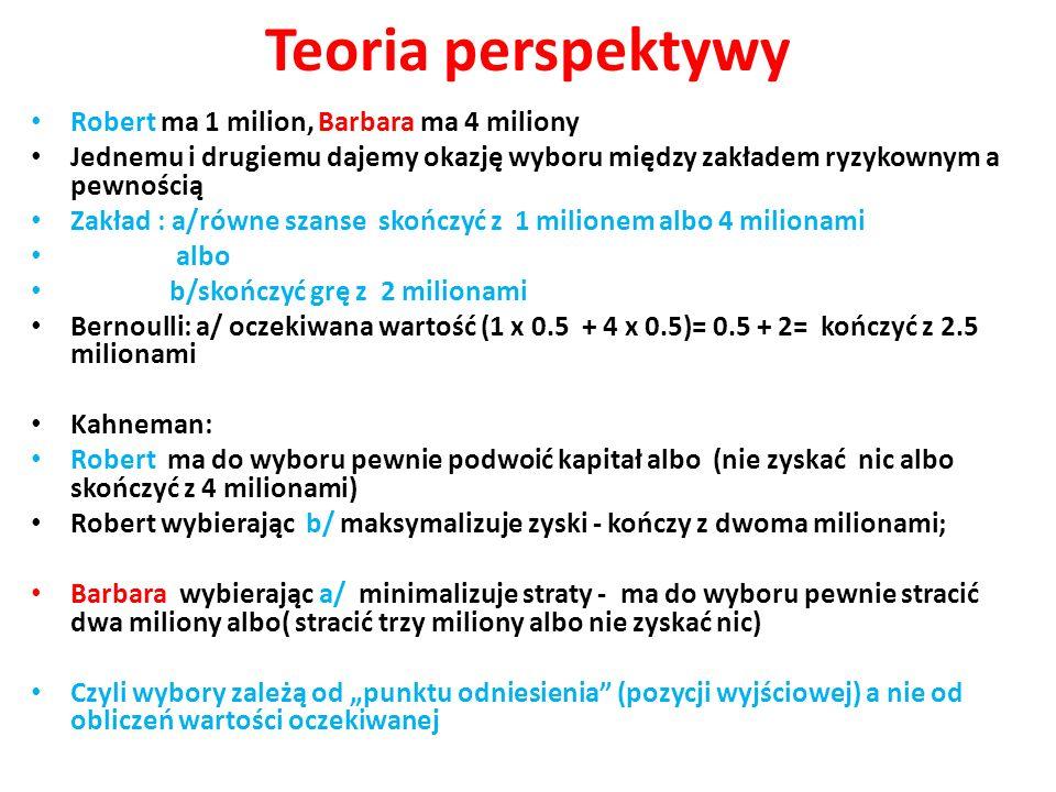 Teoria perspektywy Robert ma 1 milion, Barbara ma 4 miliony