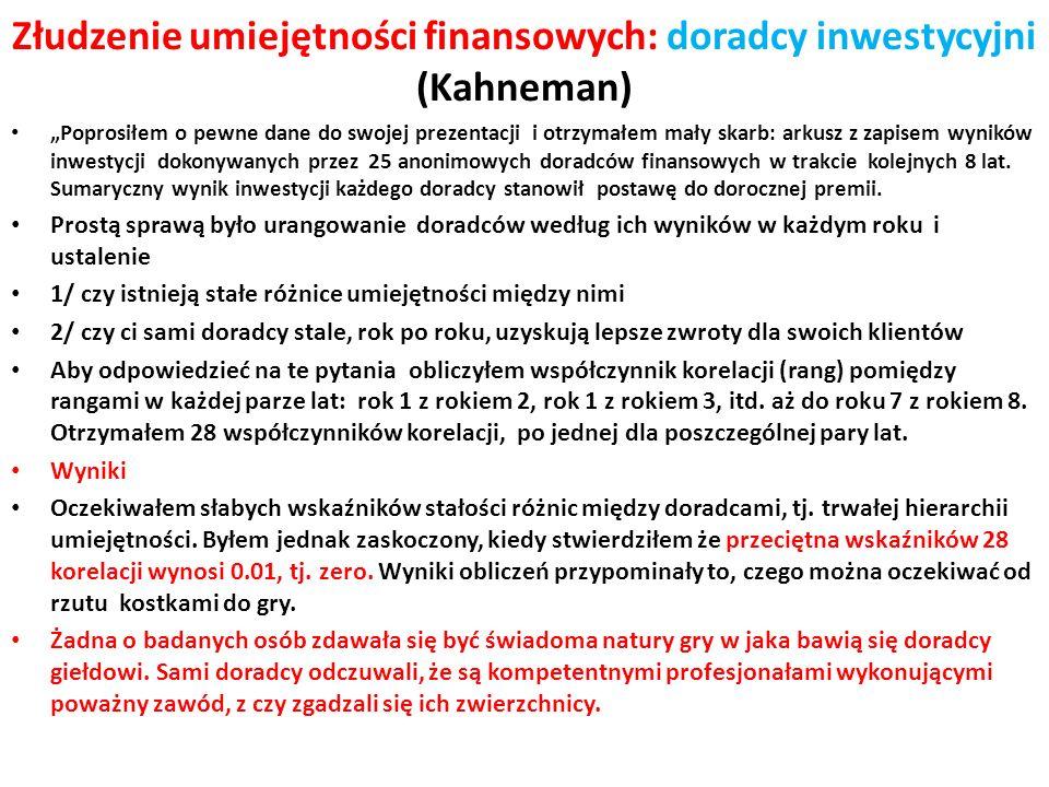 Złudzenie umiejętności finansowych: doradcy inwestycyjni (Kahneman)