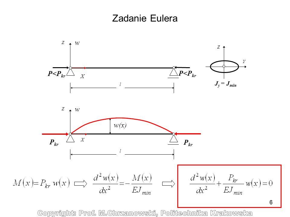 Zadanie Eulera w P<Pkr P<Pkr w w(x) Pkr Jy = Jmin X l X l Z Z Y