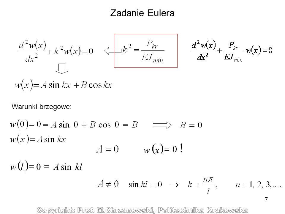 Zadanie Eulera Warunki brzegowe: ( ) x w 0 ! = ( ) kl A l w sin =